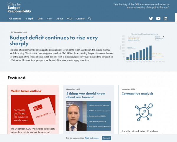 Desktop screenshot of The Office for Budget Responsibility website