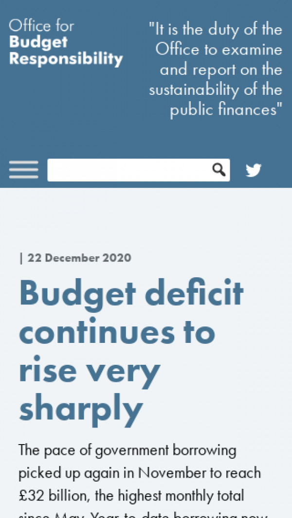 Mobile screenshot of The Office for Budget Responsibility website