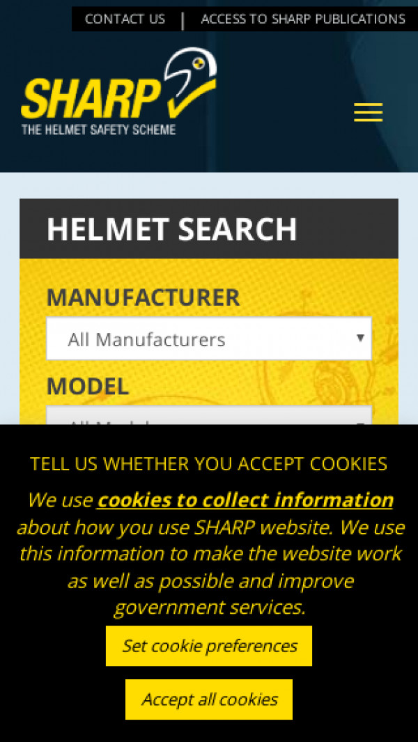 Mobile screenshot of Sharp Motorcycle Safety website