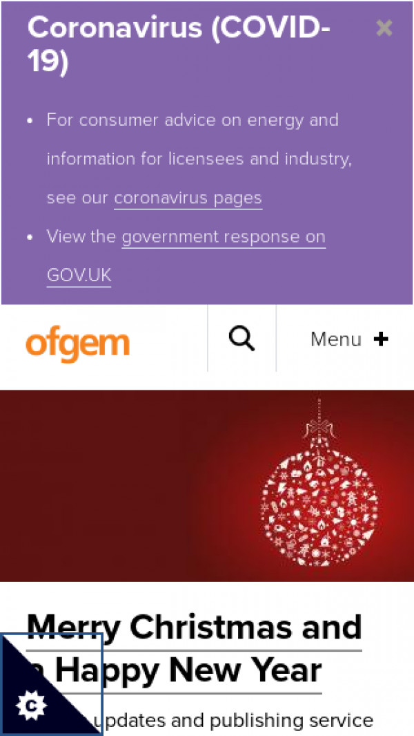 Mobile screenshot of Ofgem website