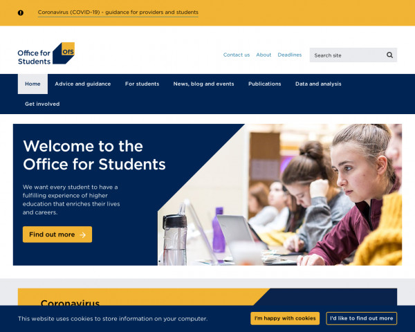 Desktop screenshot of The Office for Students (OfS) website
