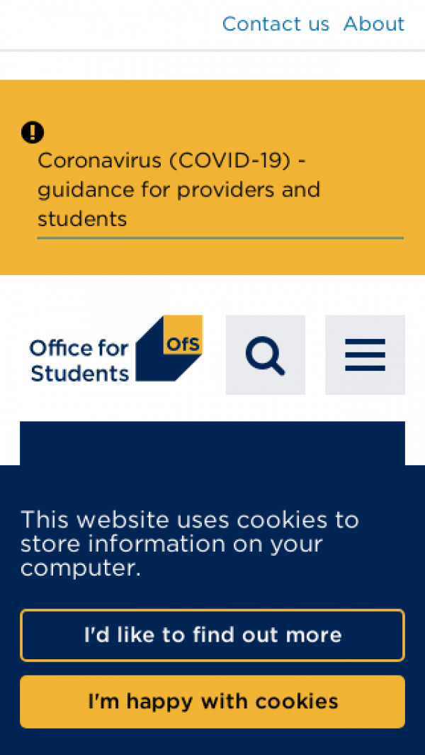 Mobile screenshot of The Office for Students (OfS) website