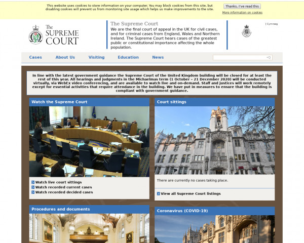 Desktop screenshot of The Supreme Court website