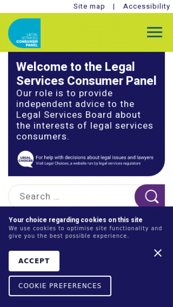 Mobile screenshot of Legal Services Consumer Panel website