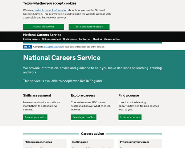 Desktop screenshot of National Careers Service website