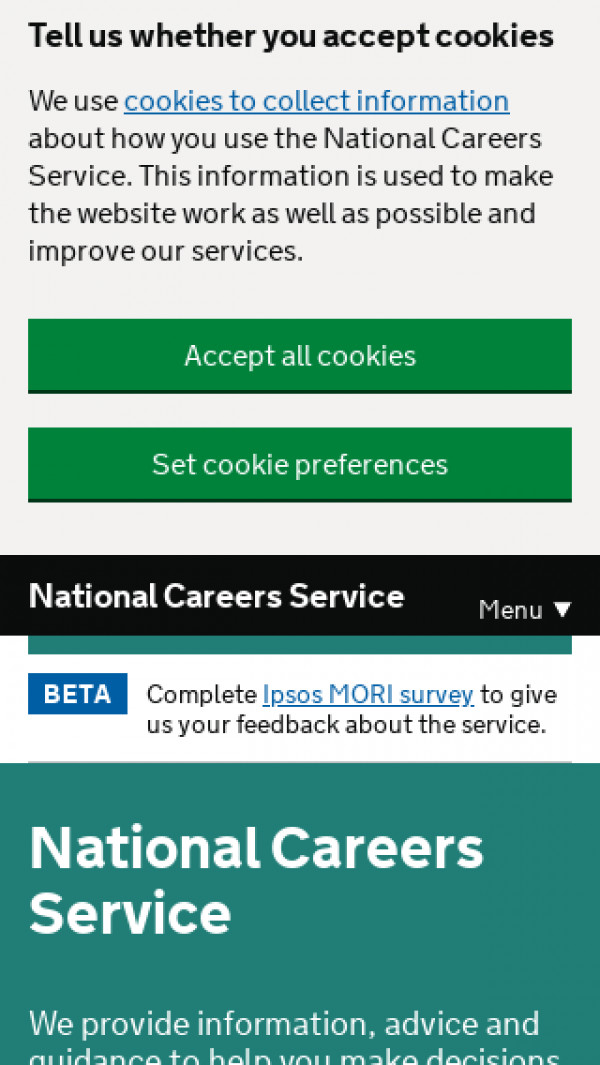 Mobile screenshot of National Careers Service website
