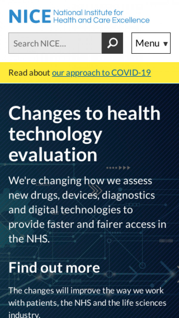 Mobile screenshot of National Institute for Clincial Excellence website