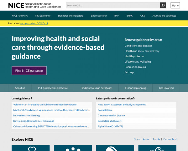 Screenshot of NICE   The National Institute for Health and Care Excellence