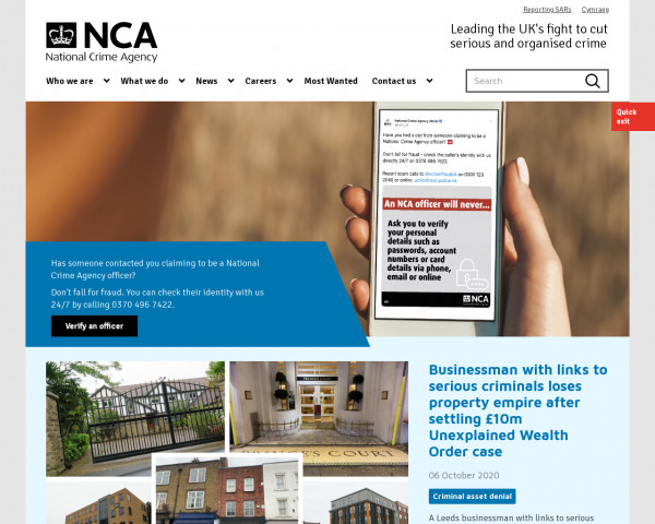 Screenshot of Home - National Crime Agency