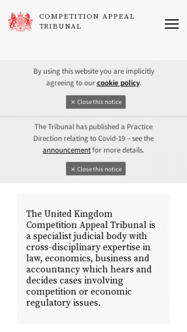 Mobile screenshot of Competition Appeal Tribunal website
