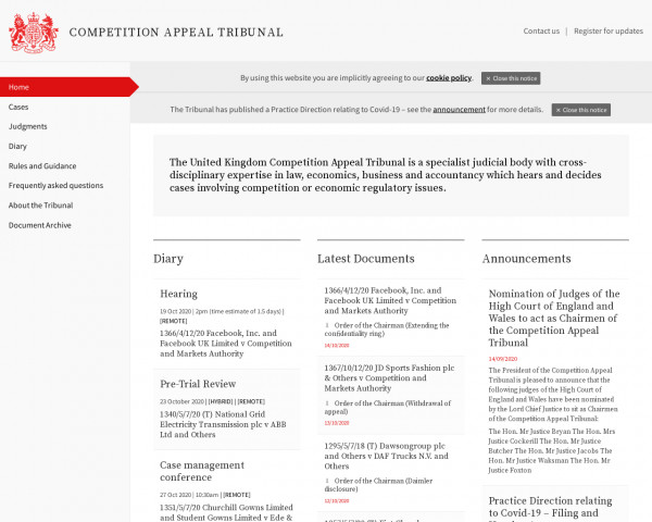 Screenshot of Home | Competition Appeal Tribunal