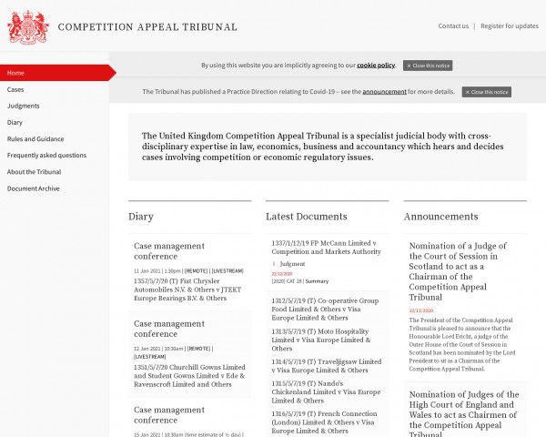 Desktop screenshot of Competition Appeal Tribunal website