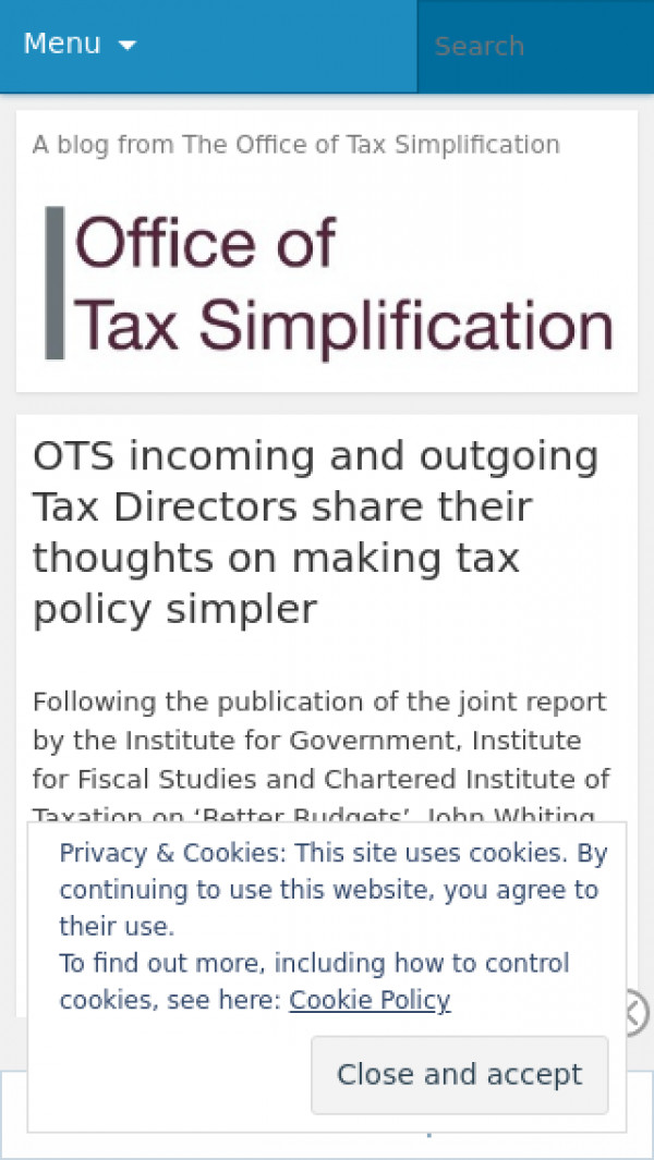 Mobile screenshot of Office of Tax Simplification blog website