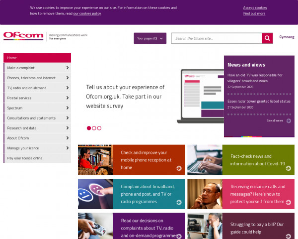 Desktop screenshot of Ofcom website