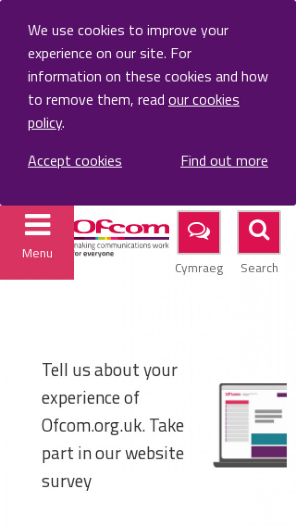 Mobile screenshot of Ofcom website