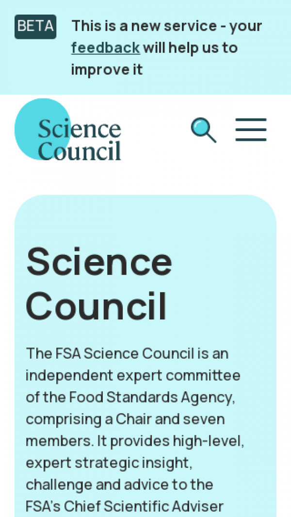 Mobile screenshot of Science Council website