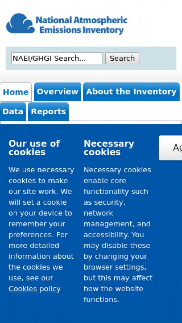Mobile screenshot of The UK National Atmospheric Emissions Inventory (NAEI) website