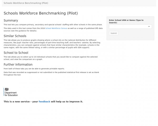 Desktop screenshot of School workforce benchmarking website