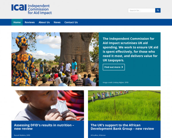 Desktop screenshot of Independent Commission for Aid Impact website