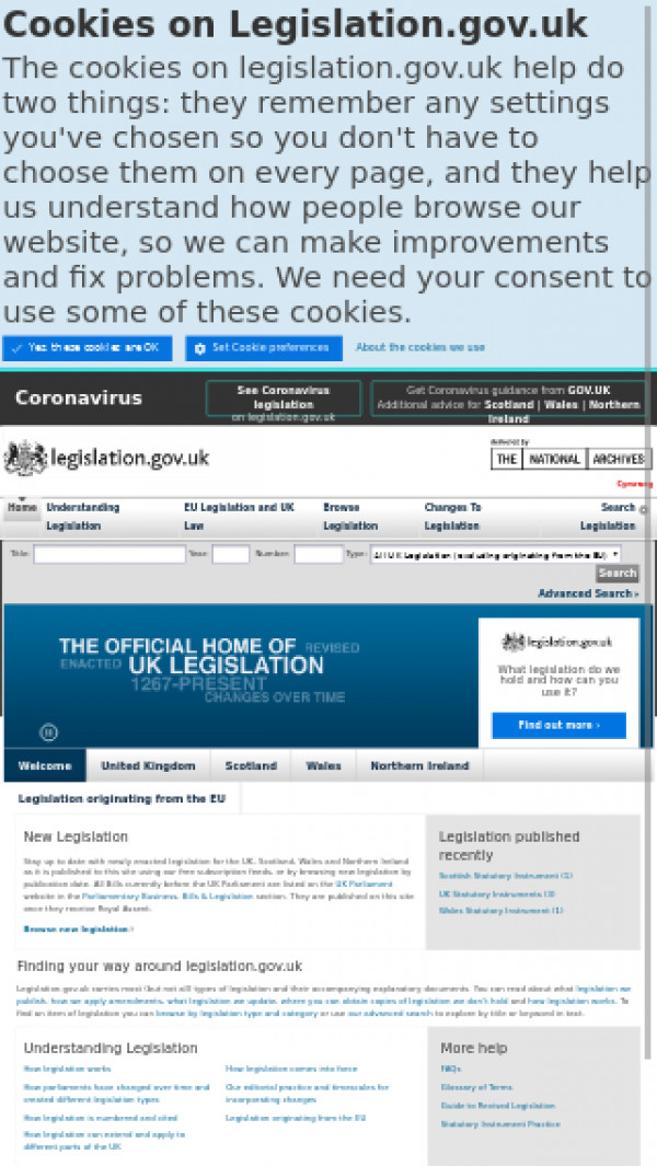 Mobile screenshot of Legislation website