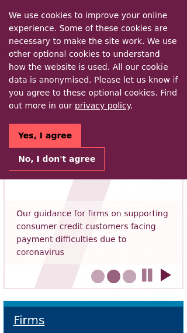 Mobile screenshot of Financial Conduct Authority website