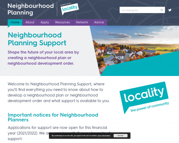 Screenshot of Home - Locality Neighbourhood Planning