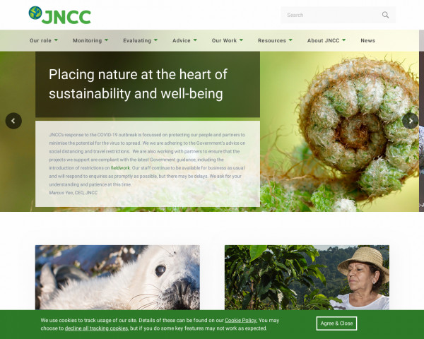 Screenshot of JNCC - Adviser to Government on Nature Conservation