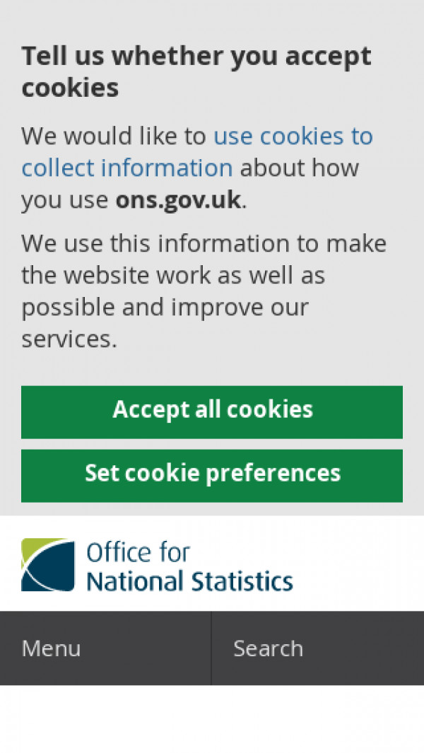 Mobile screenshot of Office for National Statistics website
