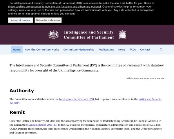 Screenshot of Intelligence and Security Committee of Parliament