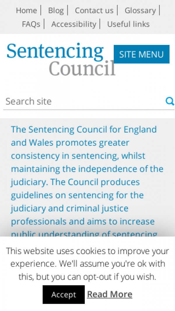Mobile screenshot of Sentencing Council for England and Wales website