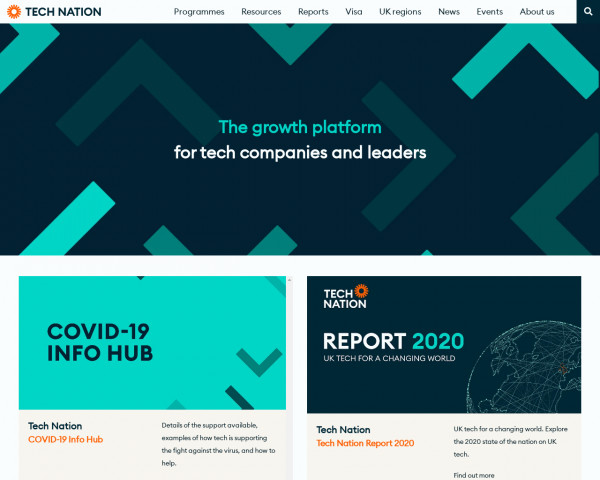 Screenshot of Tech Nation - The UK network for ambitious tech entrepreneurs