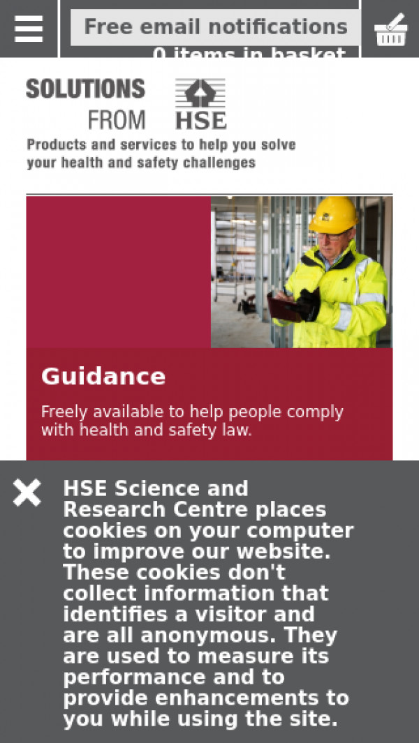 Mobile screenshot of Health and Safety Laboratory website