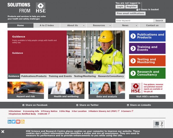 Desktop screenshot of Health and Safety Laboratory website