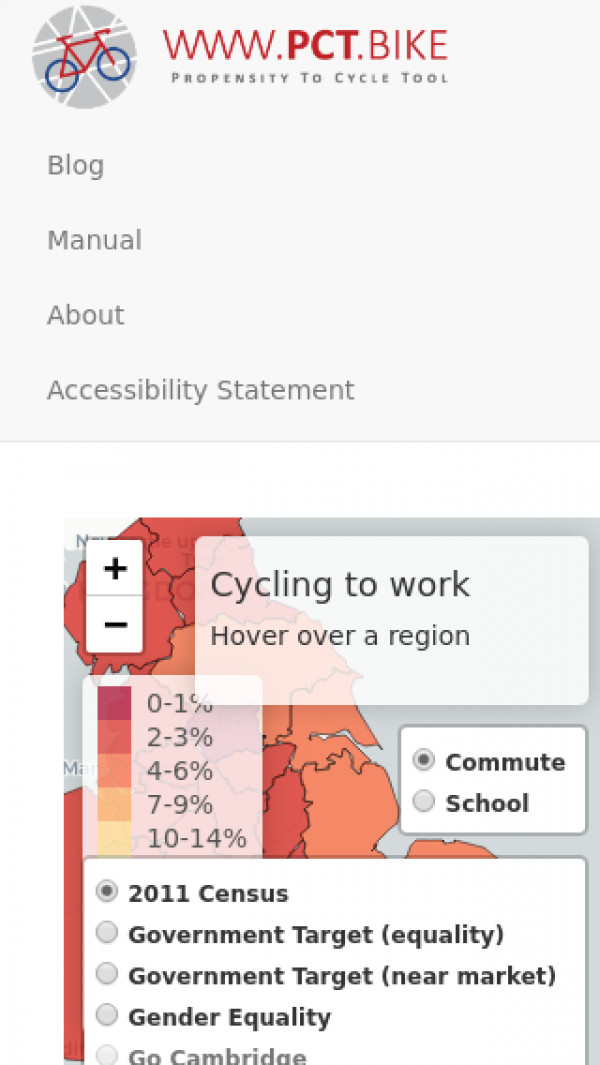 Mobile screenshot of National Propensity to Cycle Tool (PCT) website