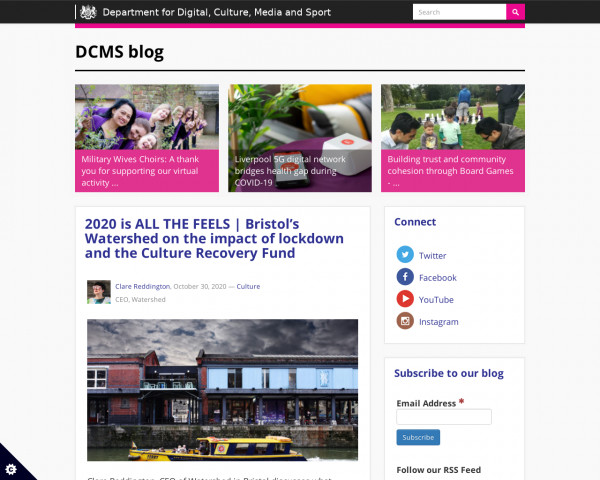 Desktop screenshot of DCMS blog website