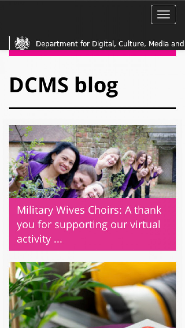 Mobile screenshot of DCMS blog website