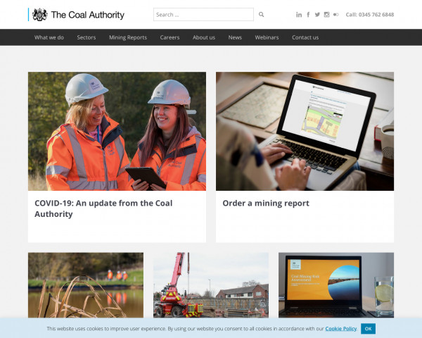 Desktop screenshot of The Coal Authority website