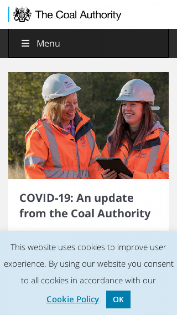 Mobile screenshot of The Coal Authority website