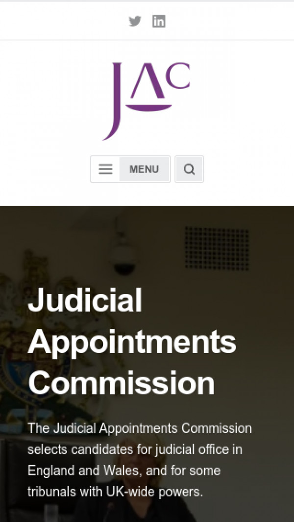 Mobile screenshot of Judicial Appointments Commission website
