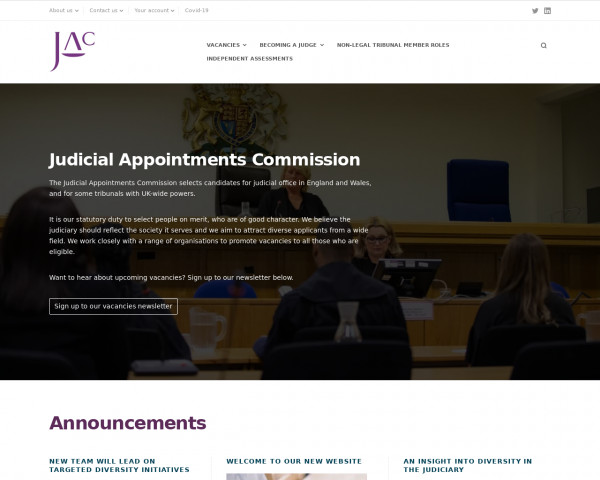 Screenshot of Judicial Appointments Commission