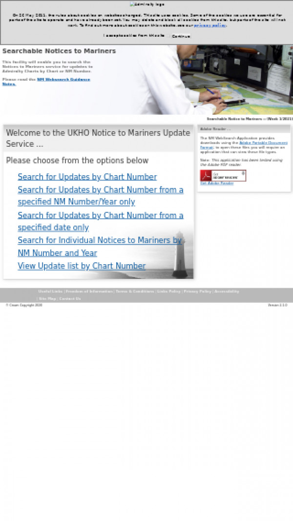 Mobile screenshot of UK Hydrographic Office website
