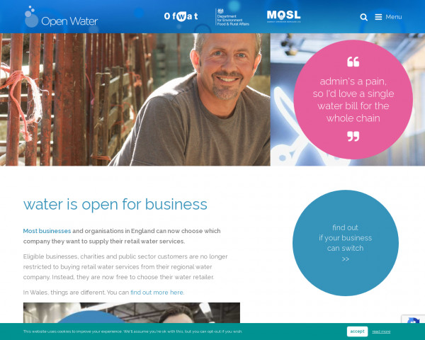 Screenshot of Open Water | the website for the open water market