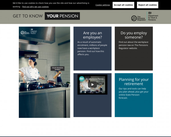 Desktop screenshot of Workplace Pension website