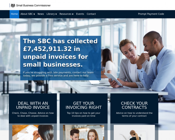 Desktop screenshot of Office of the Small Business Commissioner website