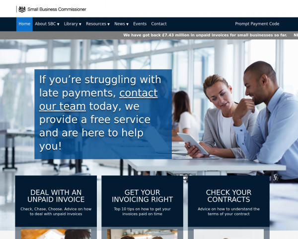 Screenshot of Small Business Commissioner