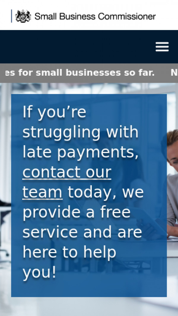 Mobile screenshot of Office of the Small Business Commissioner website