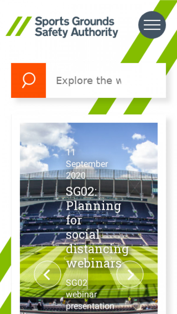 Mobile screenshot of Sports Grounds Safety Authority website