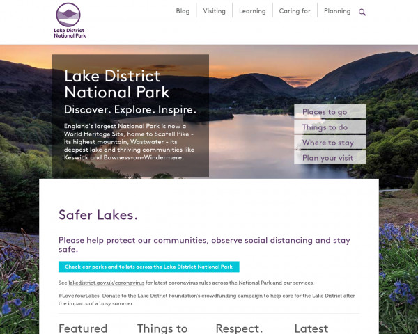 Desktop screenshot of Lake District National Park Authority website