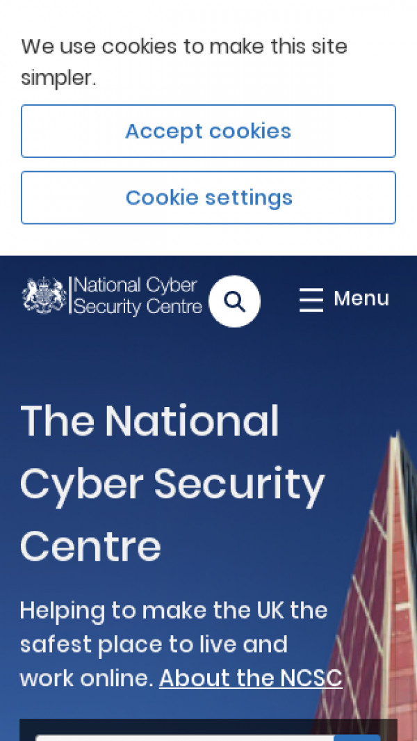 Mobile screenshot of The National Cyber Security Centre website
