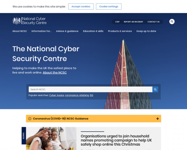Desktop screenshot of The National Cyber Security Centre website